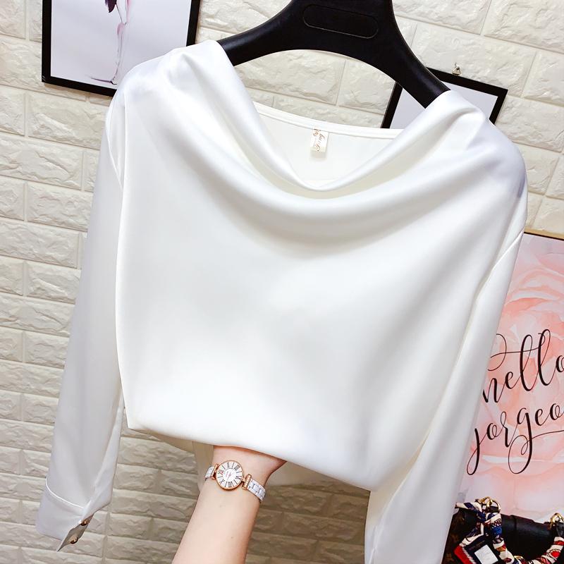 白色雪纺衬衫 一字领丝绸缎面雪纺衫女春夏装丝滑垂坠感打底套头衬衫OL白色上衣_推荐淘宝好看的女白色雪纺衬衫