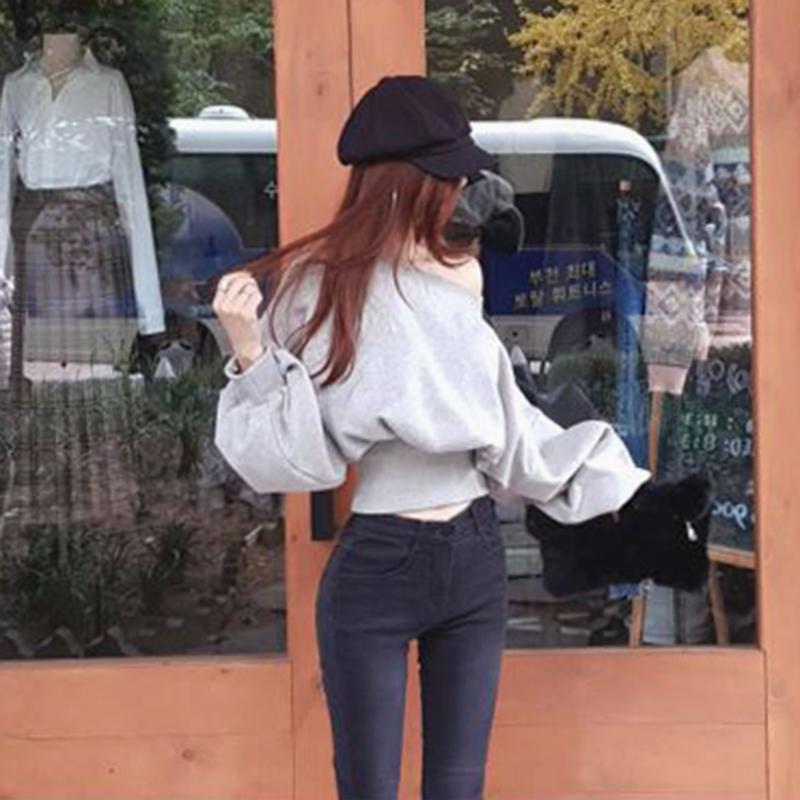 韩版套头卫衣 泡泡袖短款卫衣女套头春秋季薄款2020年新款 百搭宽松韩版短外套_推荐淘宝好看的女韩版套头卫衣