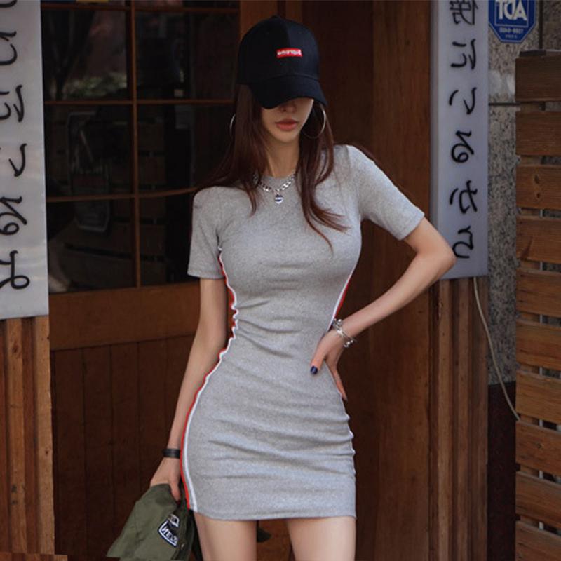 修身短袖连衣裙 小个子女人味连衣裙高冷御姐风 夏短袖修身性感超短裙子内搭2020_推荐淘宝好看的修身短袖连衣裙