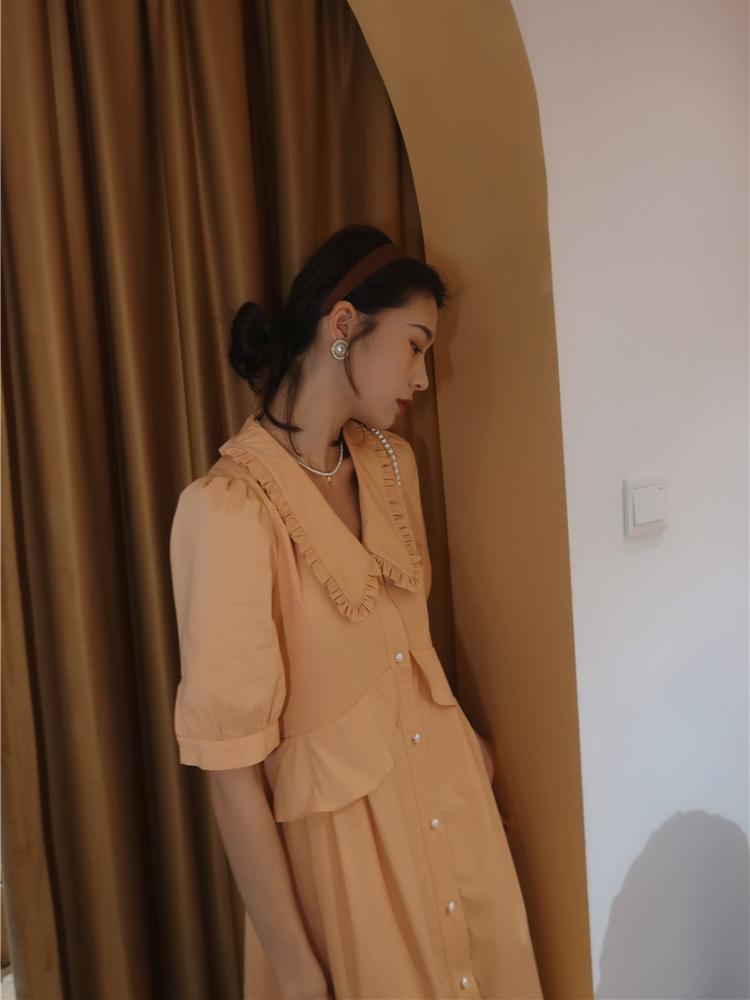 娃娃领短袖连衣裙 SOLO女装原创自制娃娃领v领泡泡袖大摆橙色高腰短袖长款连衣裙_推荐淘宝好看的娃娃领短袖连衣裙