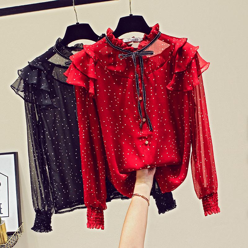 红色波点衬衫 很仙的上衣洋气雪纺衫2019初秋装新款女装波点蝴蝶结长袖雪纺衬衫_推荐淘宝好看的红色波点衬衫