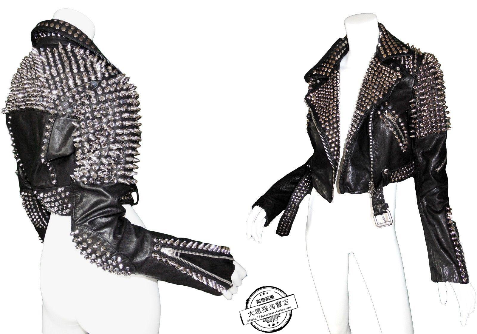 朋克皮衣 铆钉机车朋克皮衣外套  女士镶嵌皮革摩托车夹克摇滚个性时尚_推荐淘宝好看的朋克皮衣女