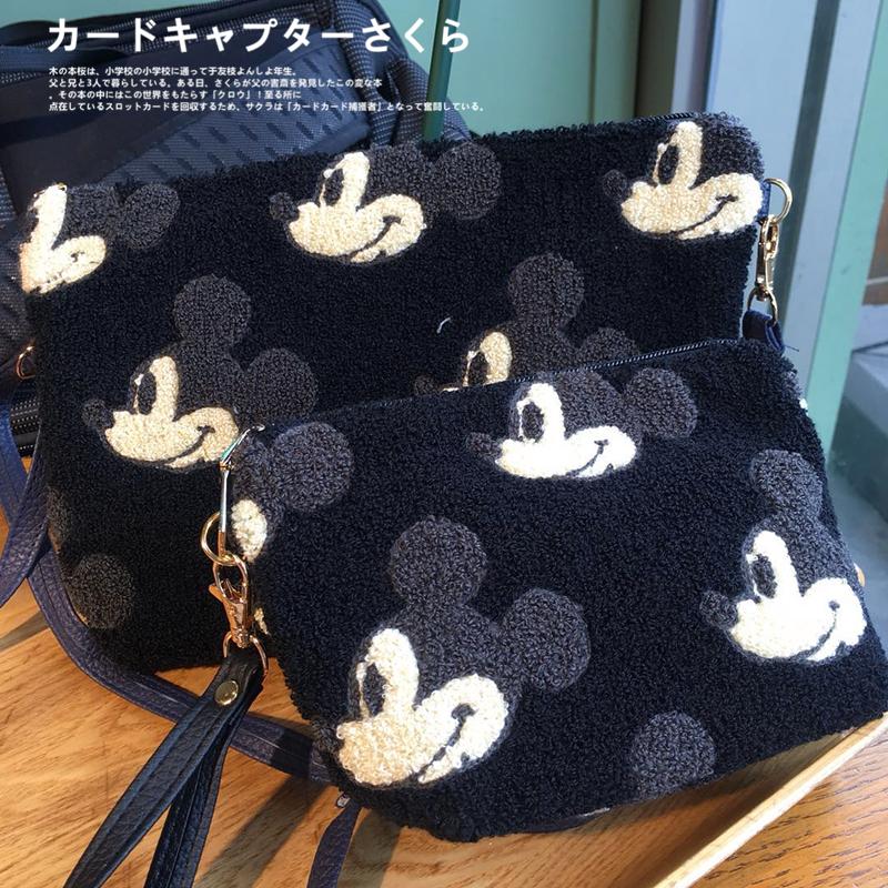 黑色手拿包 包邮 日本可爱 超多黑色米老鼠头维尼小熊女士刺绣手拿包斜挎包袋_推荐淘宝好看的黑色手拿包