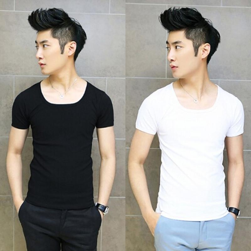 男士韩版T恤 韩版男士紧身大圆领短袖t恤纯棉低领潮流内搭上衣修身套头打底衫_推荐淘宝好看的男士韩版T恤