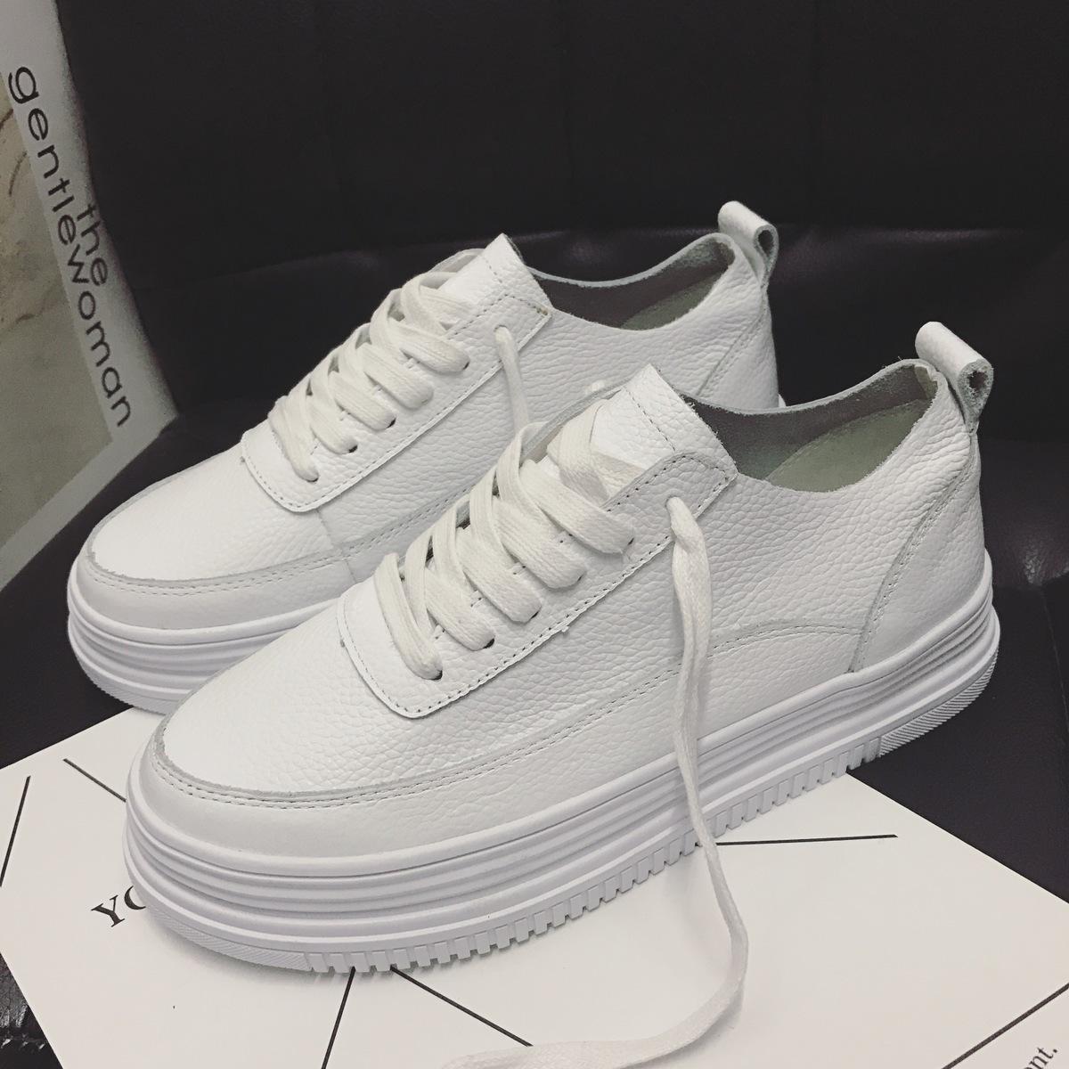 白色松糕鞋 2020春季新款厚底街拍小白鞋女百搭真皮透气韩版学生白色松糕板鞋_推荐淘宝好看的白色松糕鞋