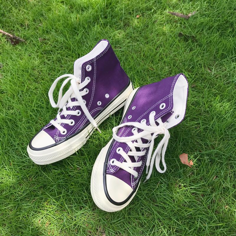 学生高帮鞋 万年款1970s深紫色高帮帆布鞋男女经典款百搭学生情侣款低帮板鞋_推荐淘宝好看的女学生高帮鞋