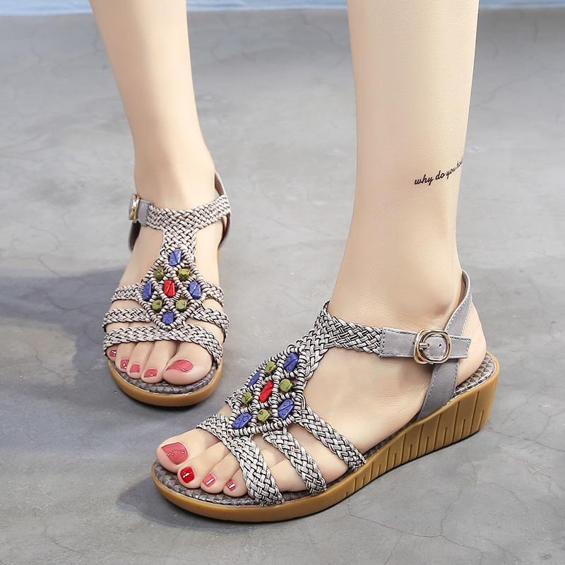 女士坡跟凉鞋 夏季新品时尚编织凉鞋女舒适小坡跟波西米亚甜美休闲民族风平底鞋_推荐淘宝好看的女 坡跟凉鞋