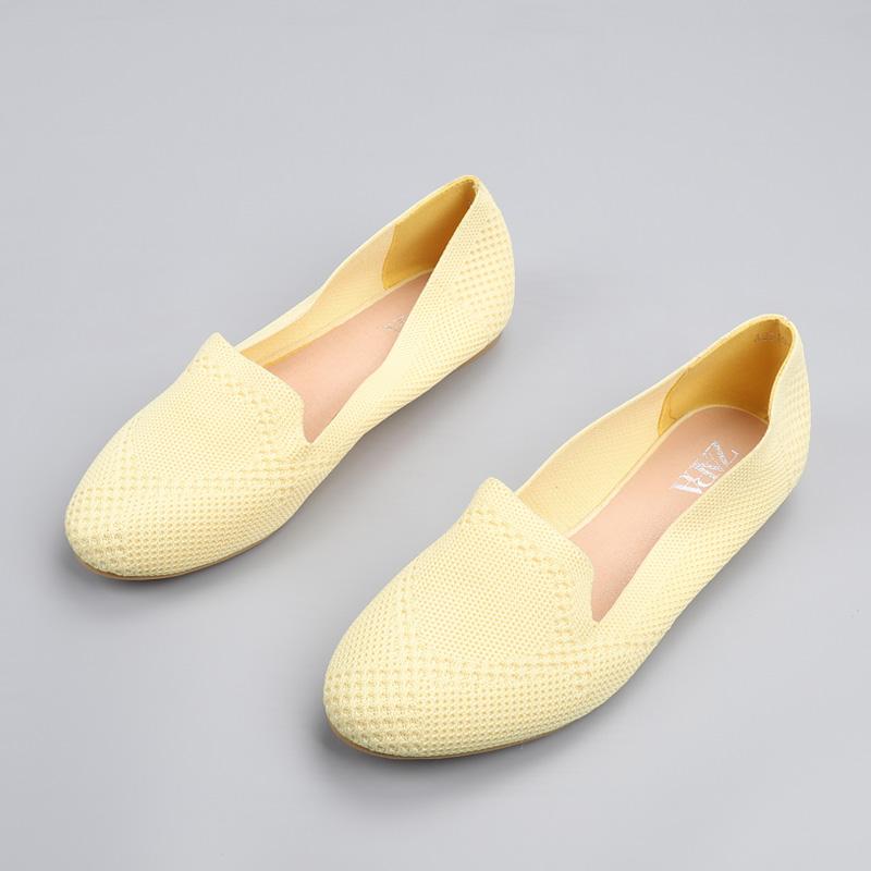 圆头时尚平底鞋 2020新款外贸舒适休闲平底针织透气黄色圆头单鞋平跟时尚柔软女鞋_推荐淘宝好看的女圆头时尚平底鞋
