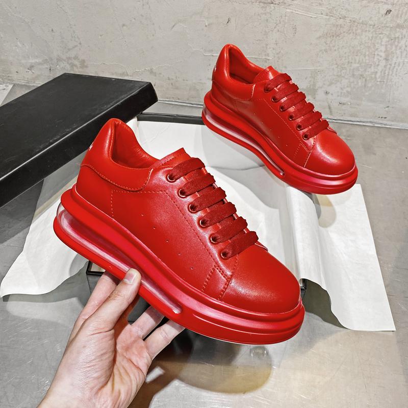 红色松糕鞋 红色厚底运动鞋女秋季2020新款网红百搭松糕气垫休闲老爹鞋中国红_推荐淘宝好看的红色松糕鞋