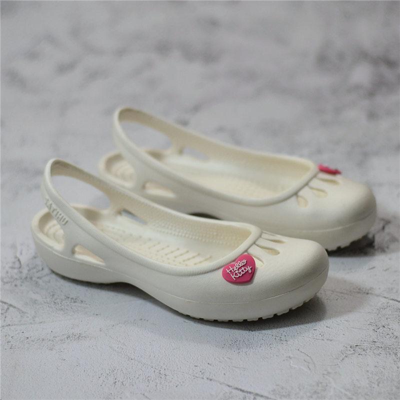 白色凉鞋 白色洞洞鞋女夏花园沙滩鞋防滑医院工作护士鞋包头凉鞋凉拖鞋团购_推荐淘宝好看的白色凉鞋