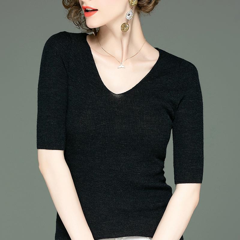 女短袖t恤 100%美丽诺羊毛衫薄款针织衫女装秋季新款短袖T恤气质V领打底衫女_推荐淘宝好看的女短袖t恤