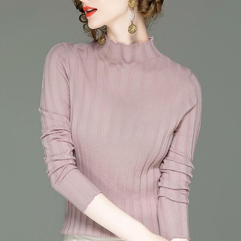 长袖针织衫 100%美丽诺羊毛半高领打底衫女装秋季新款针织衫上衣女长袖羊毛衫_推荐淘宝好看的女长袖针织衫