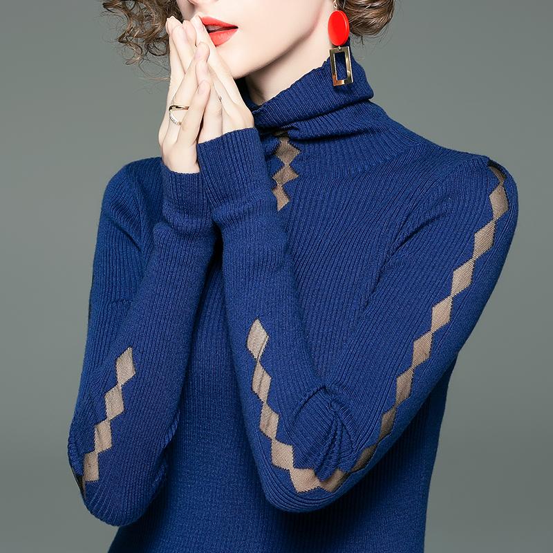 修身打底上衣 高领毛衣女纯色洋气上衣春季新款气质修身打底衫短款套头针织衫女_推荐淘宝好看的女修身打底上衣