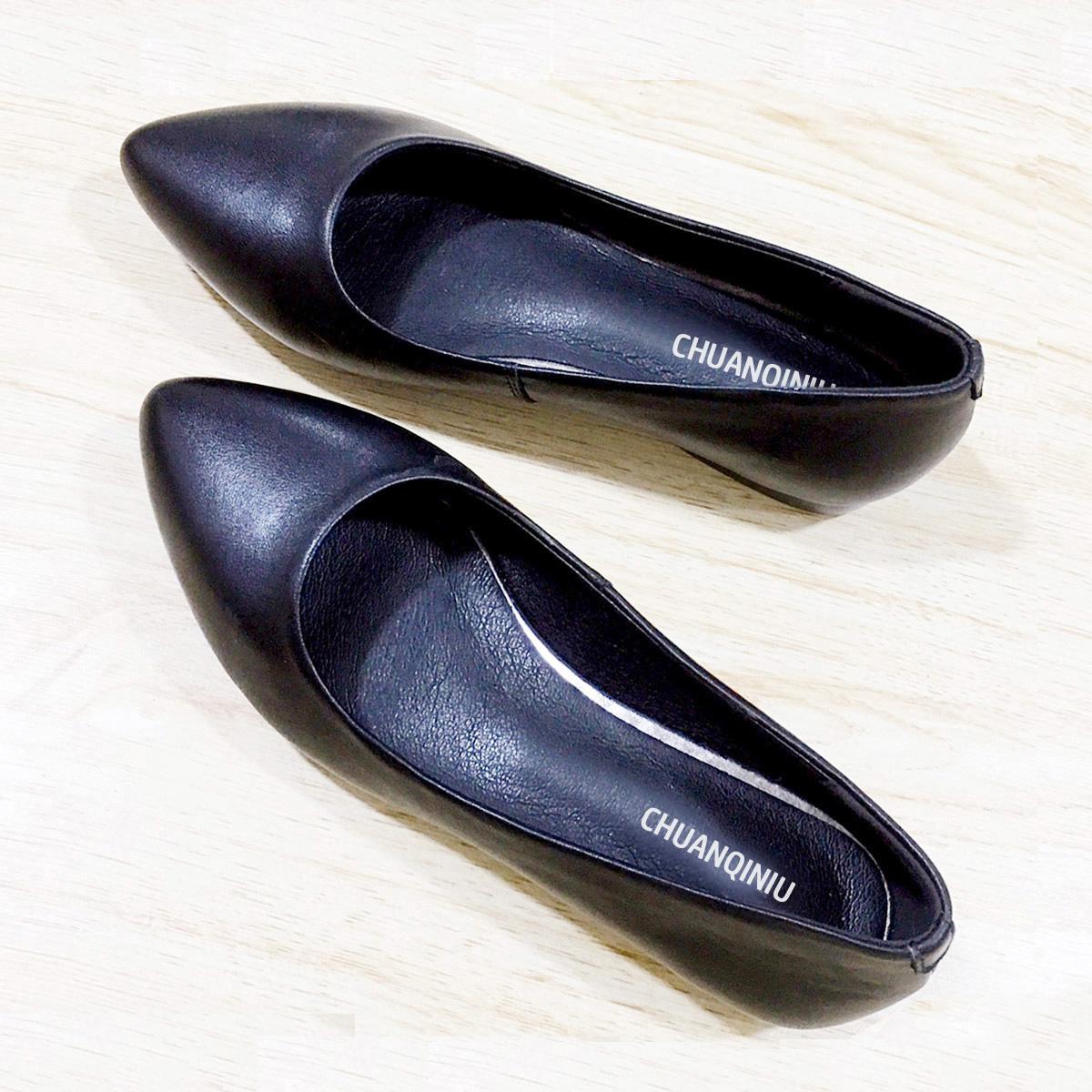 黑色平底鞋 真皮工鞋单鞋女平底软底职业空姐女鞋黑色皮鞋舒适上班酒店工作鞋_推荐淘宝好看的黑色平底鞋