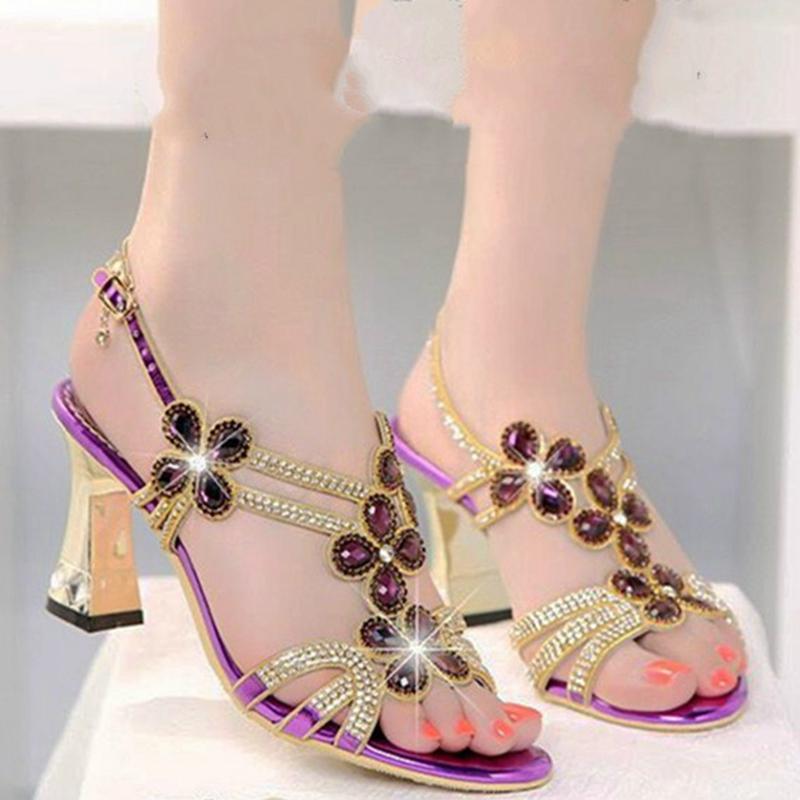 紫色鱼嘴鞋 2021夏舒适优雅优雅露趾高贵女水钻超闪大水钻粗跟紫色香槟色凉鞋_推荐淘宝好看的紫色鱼嘴鞋