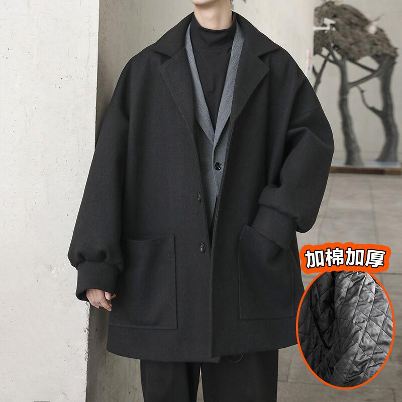 男士风衣 @方少男装 秋冬中长款加厚呢大衣男士韩版宽松bf夹棉风衣呢外套潮_推荐淘宝好看的男风衣
