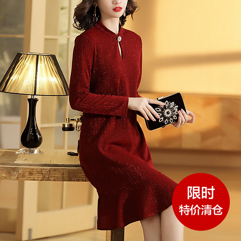长袖连衣裙 洋气鱼尾裙气质大码长袖红色旗袍改良版针织连衣裙秋装2021年新款_推荐淘宝好看的长袖连衣裙