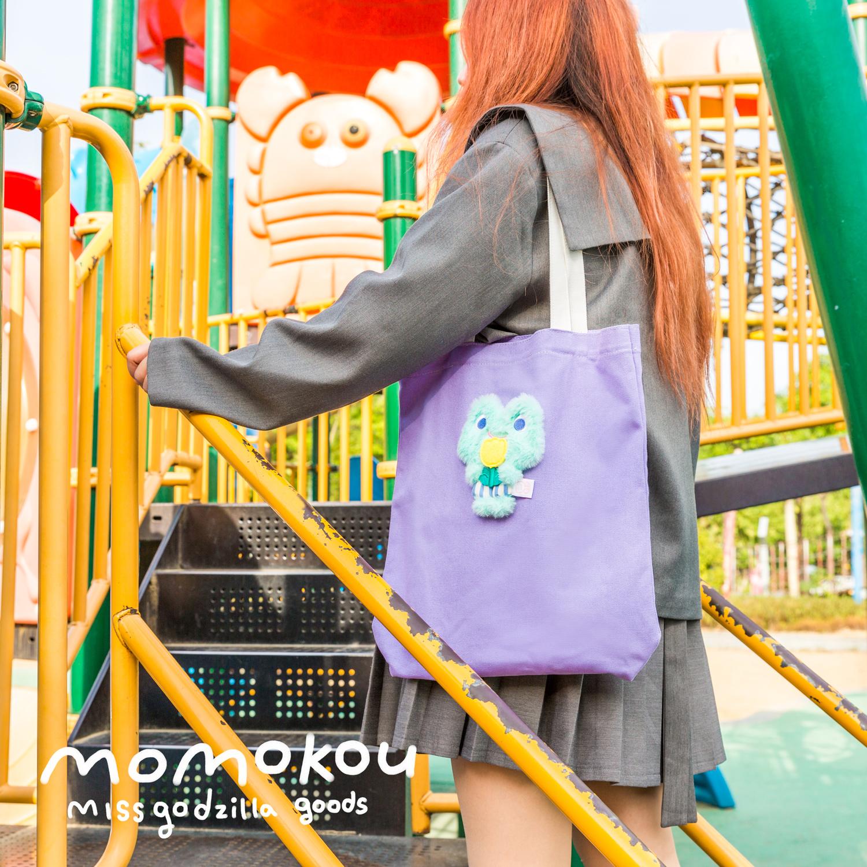 紫色帆布包 哥斯拉小姐原创可替换摸摸扣momokou帆布包袋单肩包 青春版紫色_推荐淘宝好看的紫色帆布包