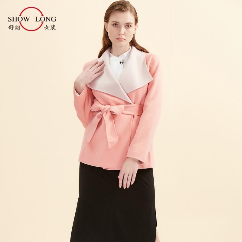 外套冬装 舒朗 冬装新款粉色翻领气质收腰短款双面呢羊毛外套女S2144A16_推荐淘宝好看的外套冬装