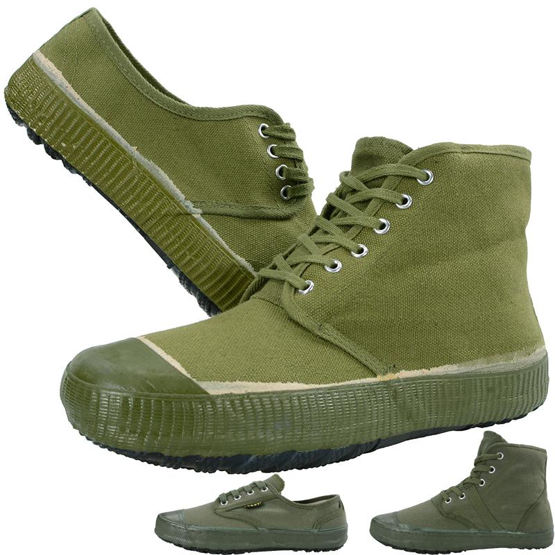 绿色帆布鞋 3537高腰解放黄胶鞋军绿色帆布透气工地耐磨平底劳保大码低帮球鞋_推荐淘宝好看的绿色帆布鞋