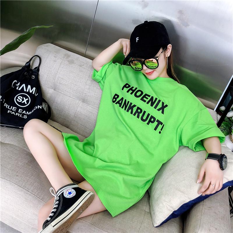 绿色T恤 夏装2021新款韩版大字母印花短袖宽松绿色中长T恤女ins超火的上衣_推荐淘宝好看的绿色T恤