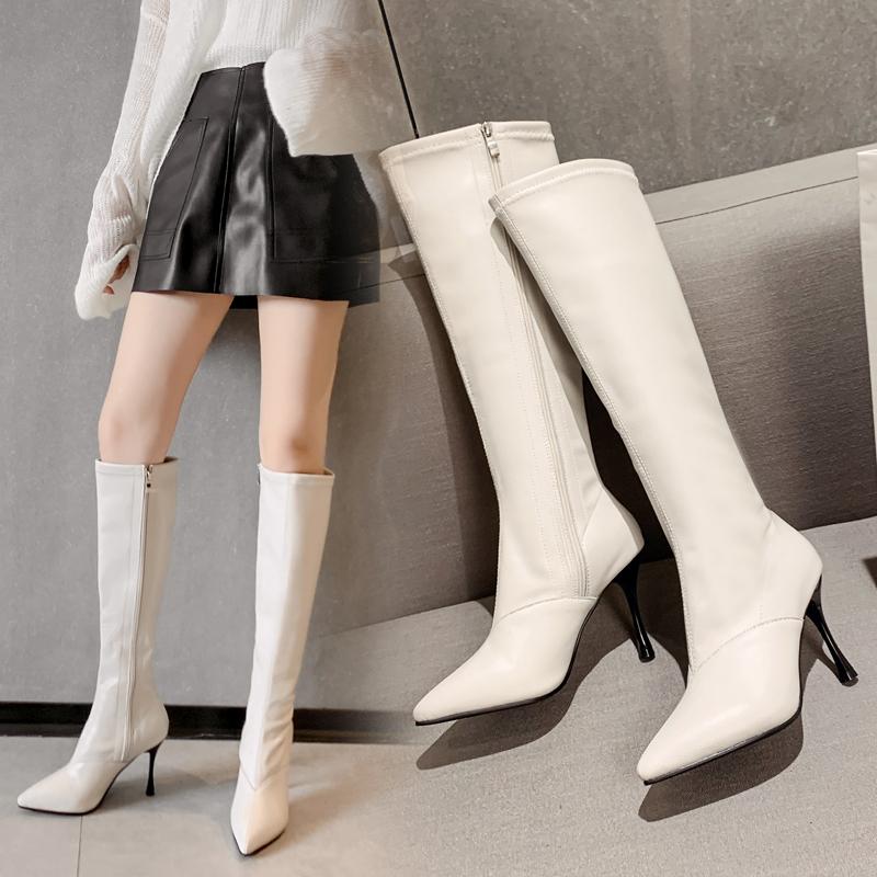白色靴子 秋冬季白色靴子女长靴不过膝高跟尖头细跟真皮弹力显瘦高筒长筒靴_推荐淘宝好看的白色靴子