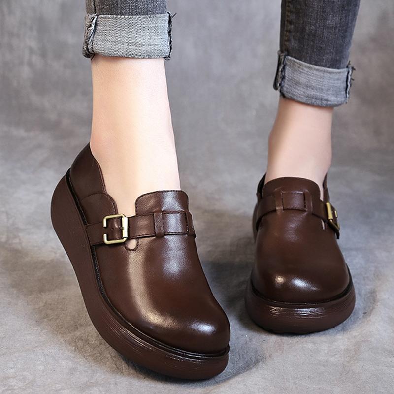 真皮坡跟鞋 2020新款厚底单鞋女坡跟文艺复古圆头软底舒适手工真皮松糕底女鞋_推荐淘宝好看的真皮坡跟鞋
