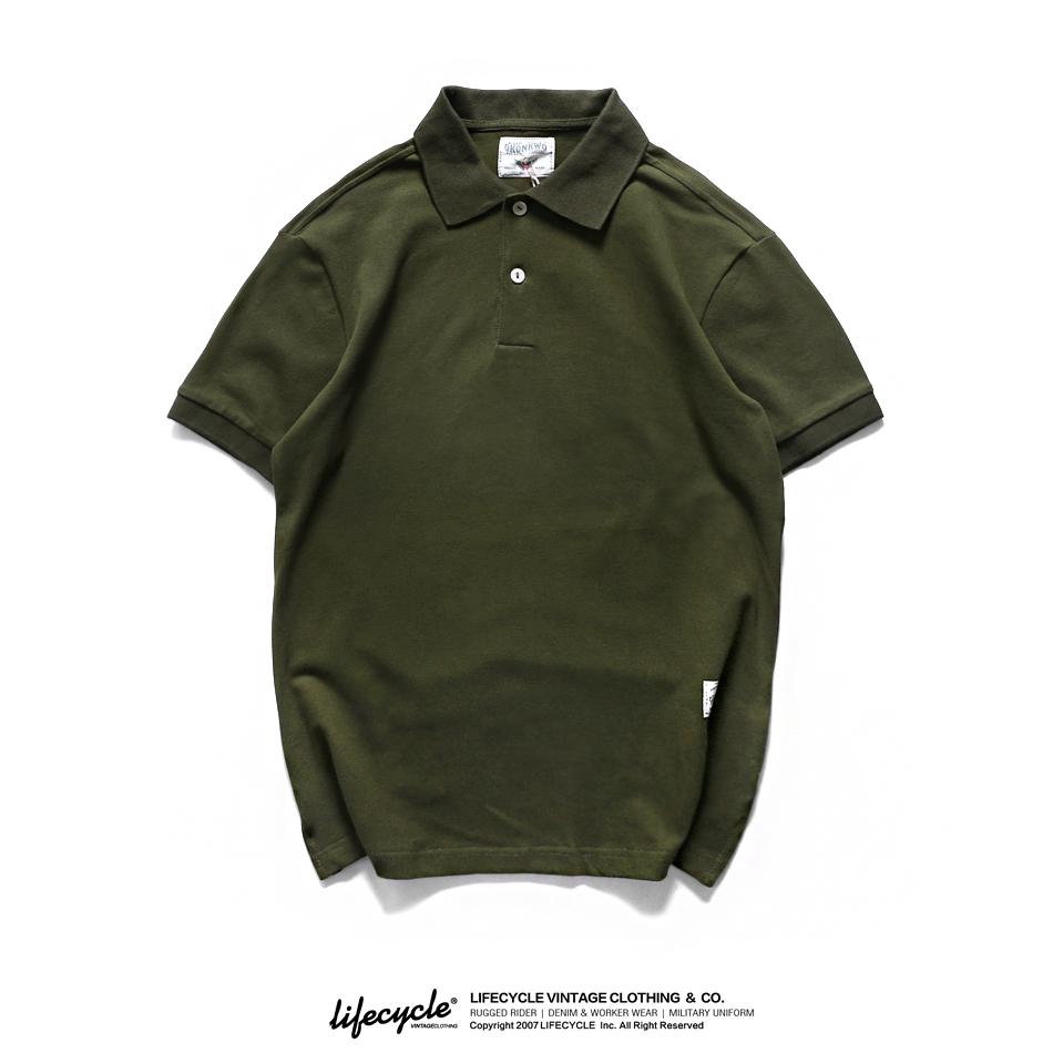 绿色T恤 LifeCycle新品阿美咔叽复古洗水纯色翻领POLO衫男士军绿色短袖T恤_推荐淘宝好看的绿色T恤
