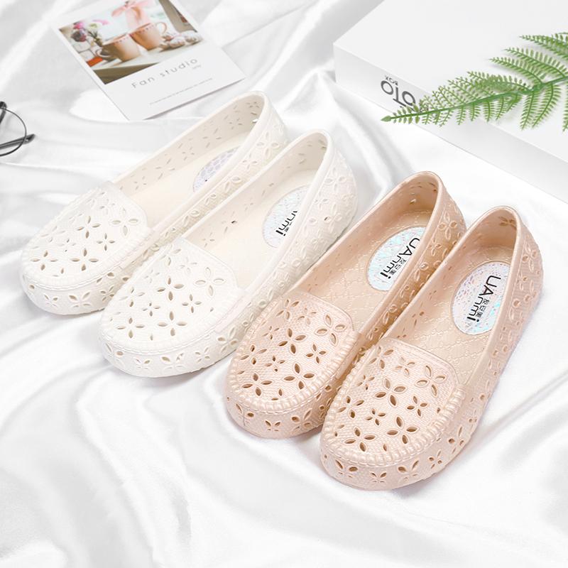 白色凉鞋 夏季塑料凉鞋女护士鞋白色工作鞋 沙滩鞋鸟巢洞洞鞋孕妇鞋妈妈鞋_推荐淘宝好看的白色凉鞋