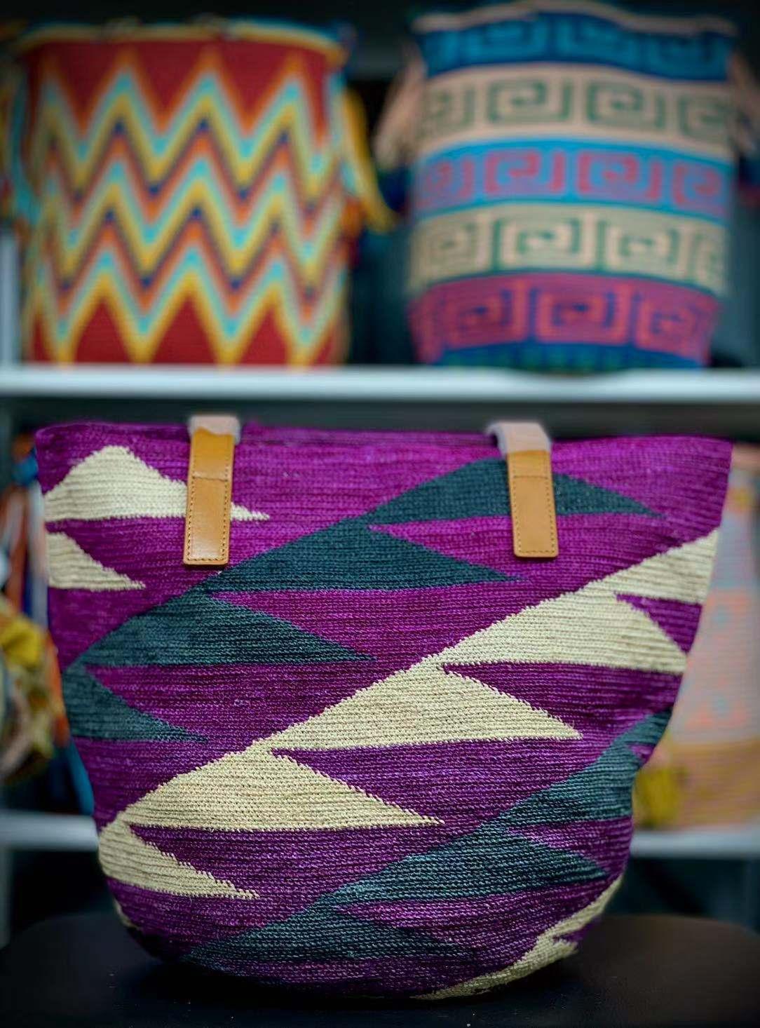 紫色草编包 豆子瓦尤包 厄瓜多尔 草编包 紫色单肩 时尚女包真皮shigaras_推荐淘宝好看的紫色草编包