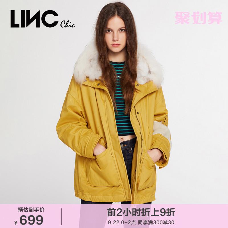 黄色羽绒服 LINC金羽杰2021年冬新款宽松派克黄色短款羽绒服女外套反季944201_推荐淘宝好看的黄色羽绒服