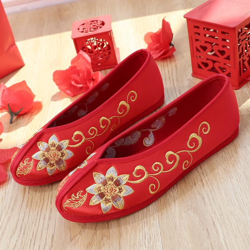 红色平底鞋 老北京布鞋秀禾鞋子平底新娘婚鞋中国风喜庆红色绣花鞋女中式婚鞋_推荐淘宝好看的红色平底鞋