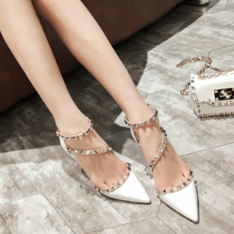 紫色凉鞋 白色v家尖头铆钉高跟鞋女细跟夏季包头漆皮紫色网红凉鞋女很仙8cm_推荐淘宝好看的紫色凉鞋