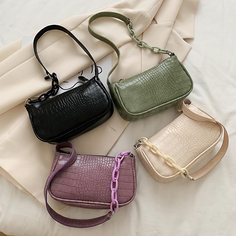 紫色手提包 高级感法国小众紫色腋下包包女2021新款时尚单肩手提鳄鱼纹法棍包_推荐淘宝好看的紫色手提包