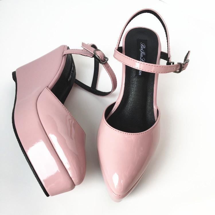 紫色凉鞋 高跟松糕厚底尖头女凉鞋 后带包头漆皮真皮女鞋 夏季舒适浅紫色_推荐淘宝好看的紫色凉鞋