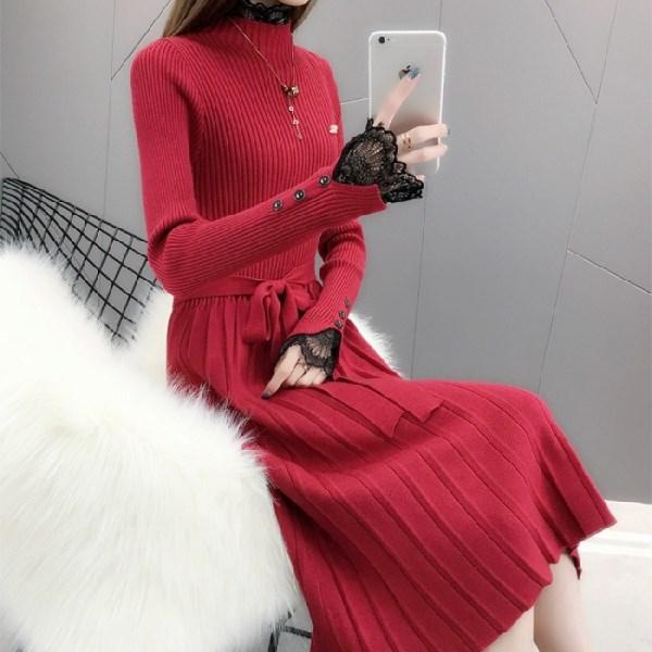 白色蕾丝连衣裙 很仙的毛衣过膝长裙2019秋冬新款蕾丝领加厚显瘦洋气针织连衣裙潮_推荐淘宝好看的白色蕾丝连衣裙