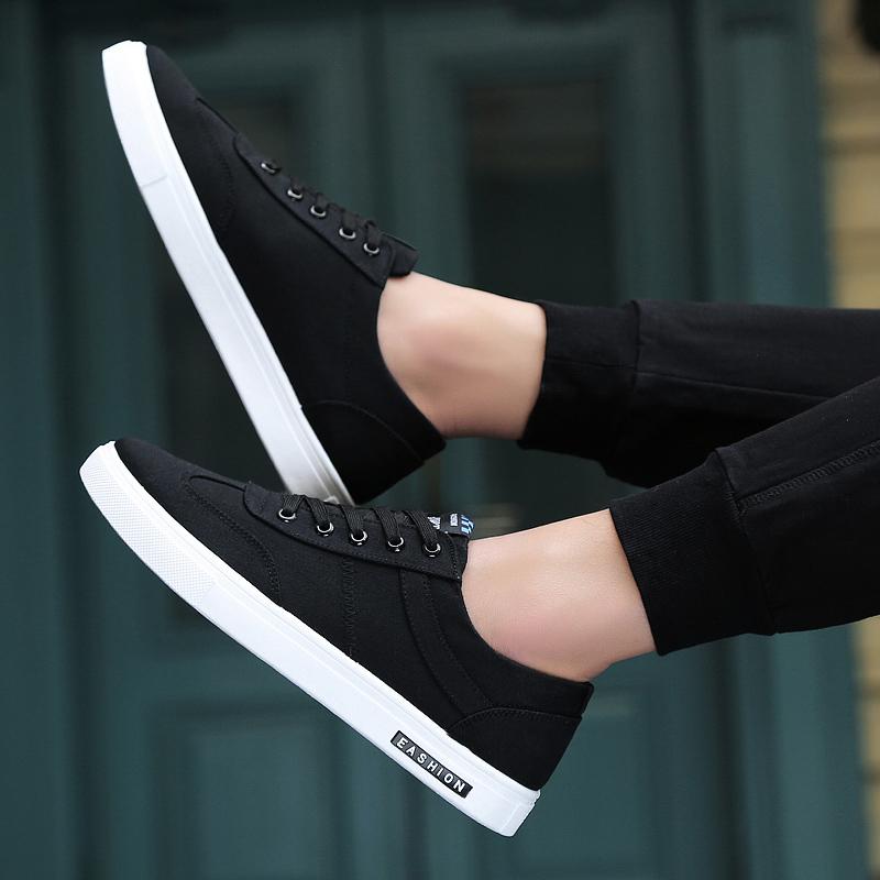 黑色帆布鞋 2021新款春季男鞋子韩版潮流百搭潮鞋低帮帆布休闲鞋黑色布鞋板鞋_推荐淘宝好看的黑色帆布鞋
