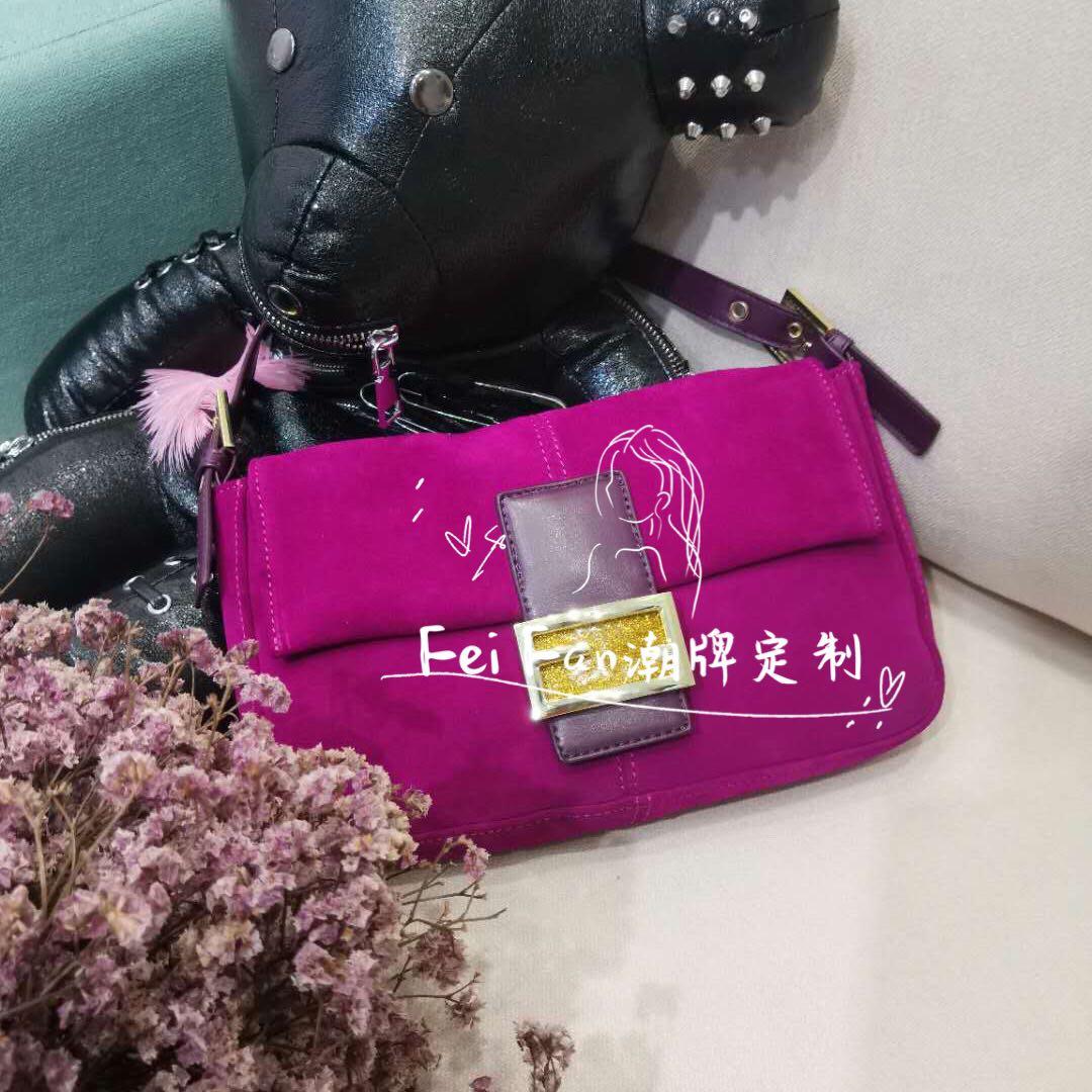 紫色斜挎包 小众设计2021新款紫色手提斜挎包法棍包麂皮腋下包单肩复古包_推荐淘宝好看的紫色斜挎包