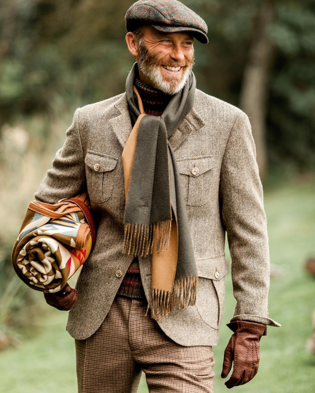 欧美西装男 450G全羊毛粗花呢阿美咔叽外套欧美复古潮男猎装多袋立领西装夹克_推荐淘宝好看的欧美西装男