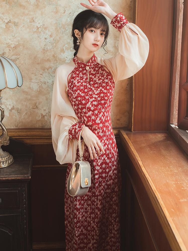 红色连衣裙 年轻款2021新款碎花裙甜美旗袍日常改良版红色连衣裙气质法式夏季_推荐淘宝好看的红色连衣裙