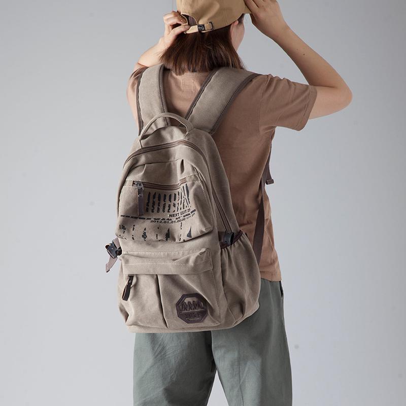 韩版帆布包 双肩包男女韩版休闲帆布背包大容量旅行包运动包中学生书包电脑包_推荐淘宝好看的女韩版帆布包