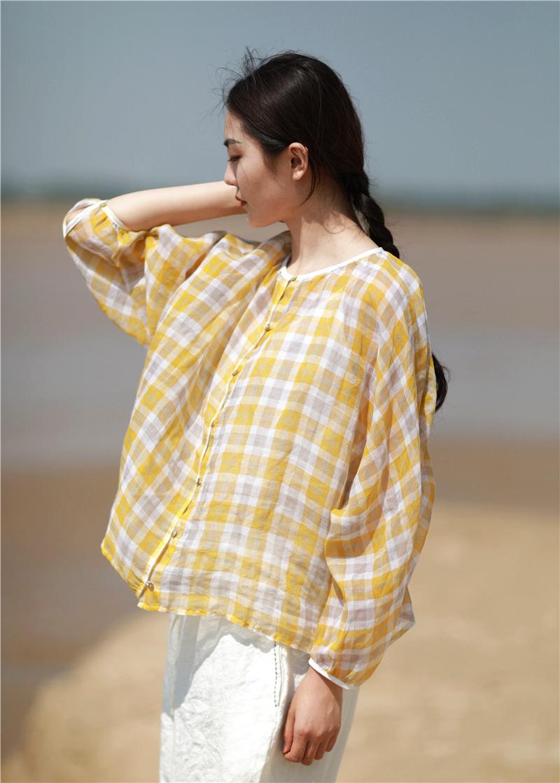 女式格子衬衫 如意布衣 夏季文艺复古轻薄款纯棉格子上衣蝙蝠袖宽松衬衫女_推荐淘宝好看的女格子衬衫