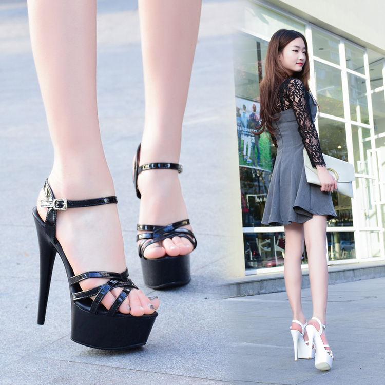 黑色凉鞋 走秀神器模特高跟鞋细跟性感黑色防水台15cm恨天高超高跟凉鞋女夏_推荐淘宝好看的黑色凉鞋