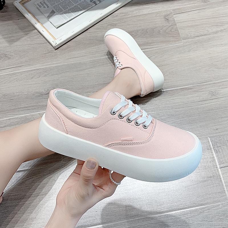 粉红色帆布鞋 透气帆布鞋女夏季薄款2120年鞋子粉红色百搭韩版平底学生布鞋女鞋_推荐淘宝好看的粉红色帆布鞋