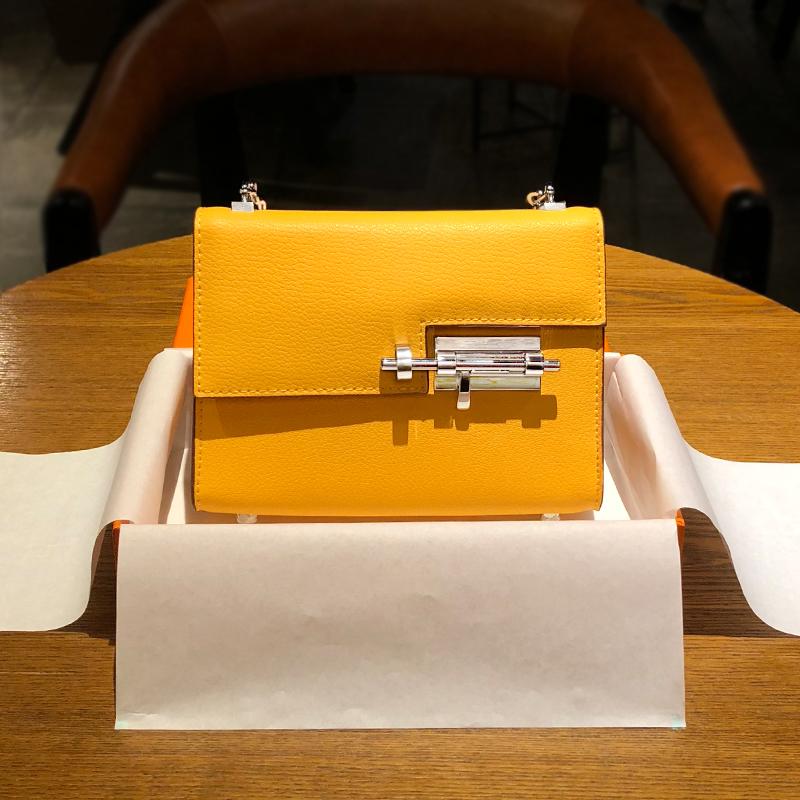 黄色单肩包 黄色包包招财 H家女包大牌链条包真皮小包单肩斜跨包2021新款时尚_推荐淘宝好看的黄色单肩包