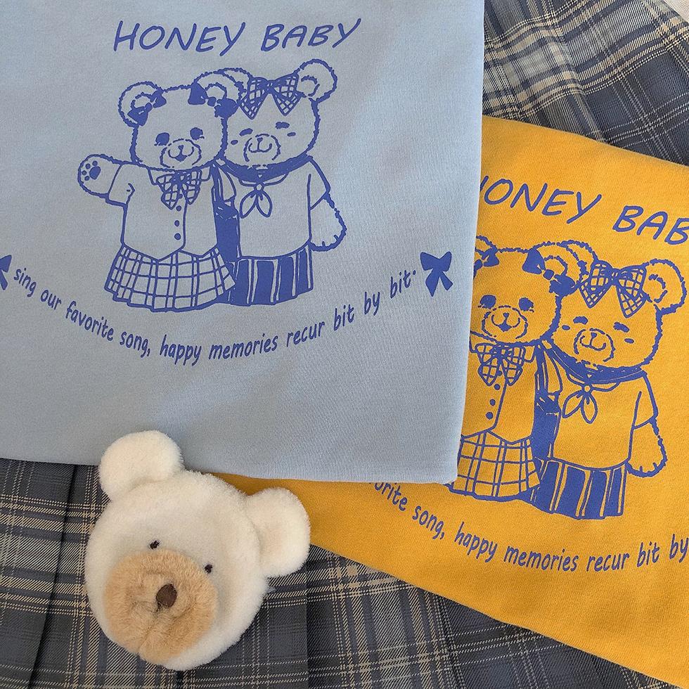 原创手绘t恤 原创设计 熊的开学日 日系可爱多色短袖T恤手绘风软妹少女上衣夏_推荐淘宝好看的女原创手绘t恤