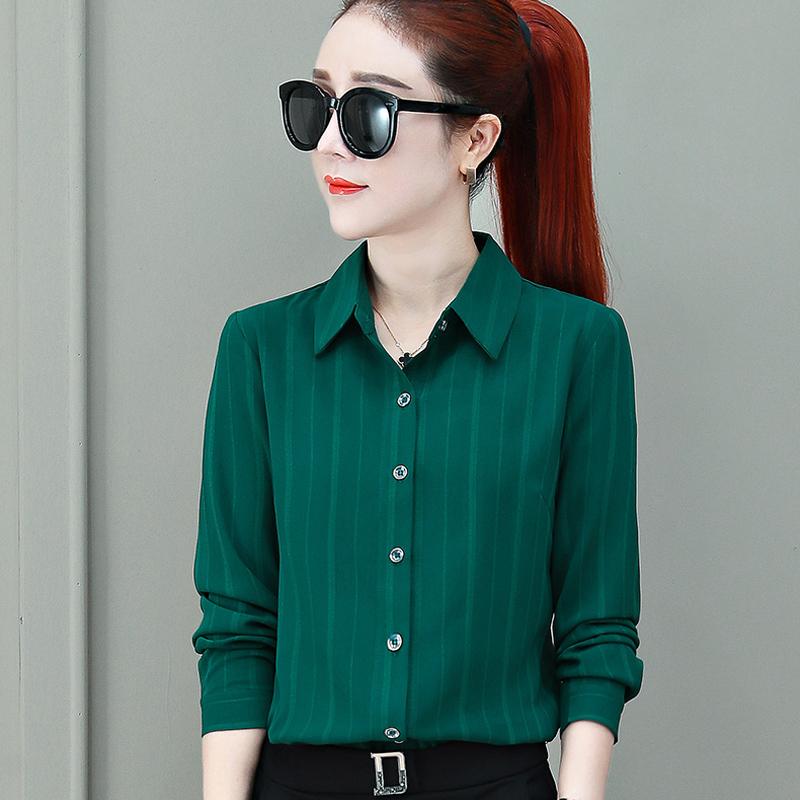 绿色雪纺衫 条纹衬衫女长袖2020春秋装潮雪纺上衣百搭开衫外穿韩版女士绿衬衣_推荐淘宝好看的绿色雪纺衫