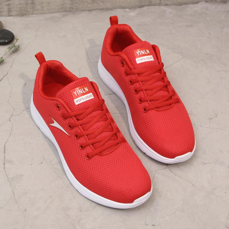 红色帆布鞋 2021新款网布鞋红色帆布鞋轻便运动休闲鞋女网跑步鞋情侣鞋球鞋_推荐淘宝好看的红色帆布鞋