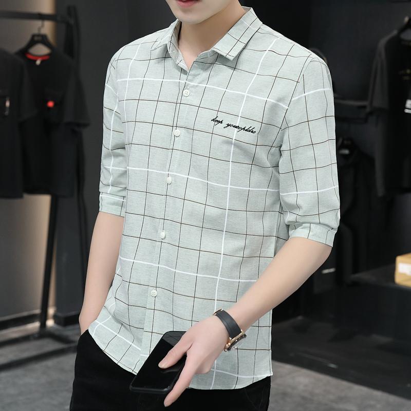 男士格子衬衫 2021夏季新款时尚修身中袖衬衫男潮流青少年休闲七分袖格子衬衫男_推荐淘宝好看的男格子衬衫