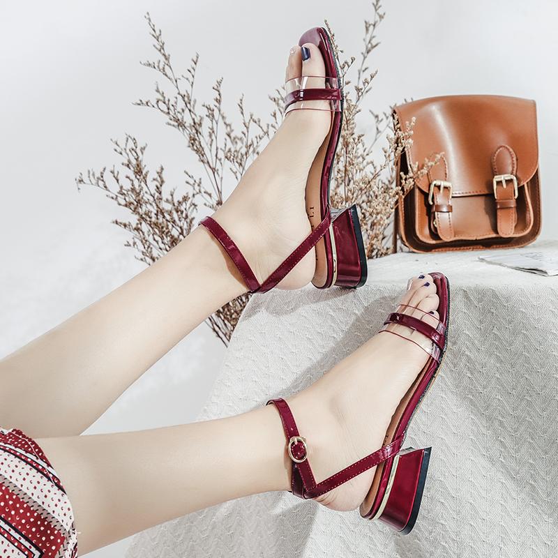 红色罗马鞋 一字带透明凉鞋女粗跟2021新款夏季中跟红色韩版学生罗马仙女的鞋_推荐淘宝好看的红色罗马鞋